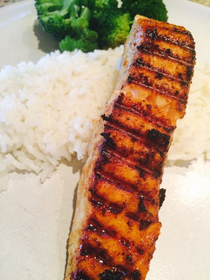 Grilled Salmon with Brown Sugar, Mustard, and Ginger Glaze ~ a very ...