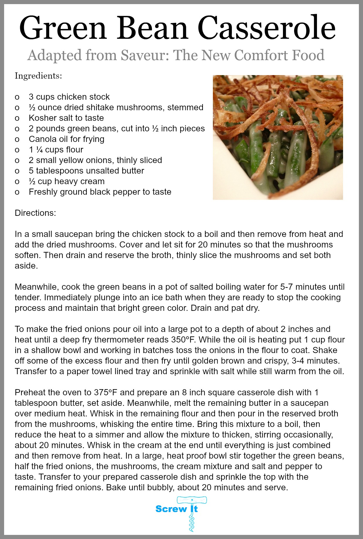Green Bean Casserole Recipe 2